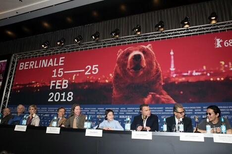 第68回ベルリン国際映画祭公式記者会見の様子。
