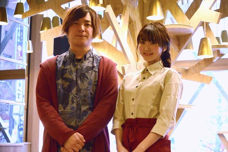 「猫カフェ」製作発表記者会見の様子。左から沖田光、久保ユリカ。