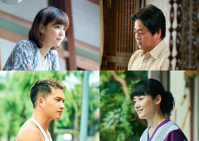 「あいあい傘」キャスト。上段左から時計回りに倉科カナ、立川談春、原田知世、市原隼人。