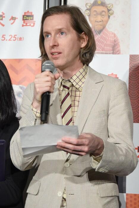 2018年5月22日に東京・TOHOシネマズ 六本木ヒルズで行われた「犬ヶ島」舞台挨拶に参加したウェス・アンダーソン。