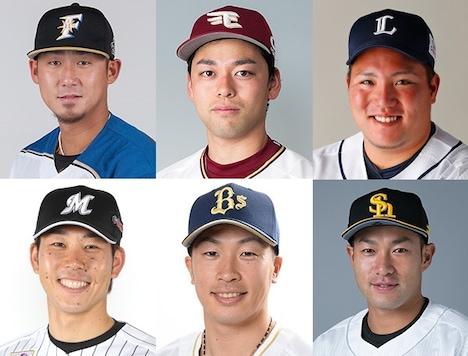 上段左から時計回りに中田翔、高梨雄平、山川穂高、柳田悠岐、安達了一、鈴木大地。