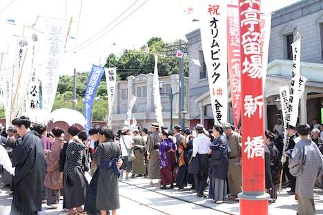 大河ドラマ「いだてん」撮影現場の様子。
