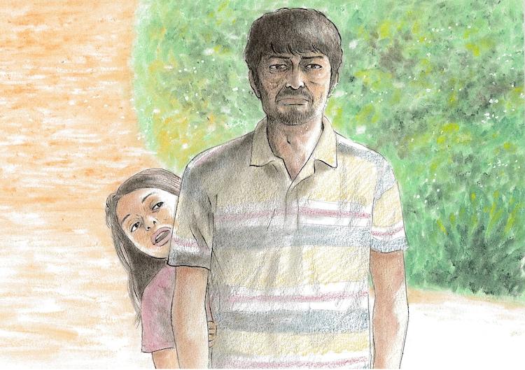 「愛しのアイリーン」の一場面を原作者・新井英樹が再現したイラスト。