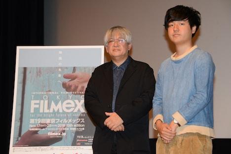 第19回東京フィルメックスラインナップ発表会見にて、左から市山尚三、奥山大史。