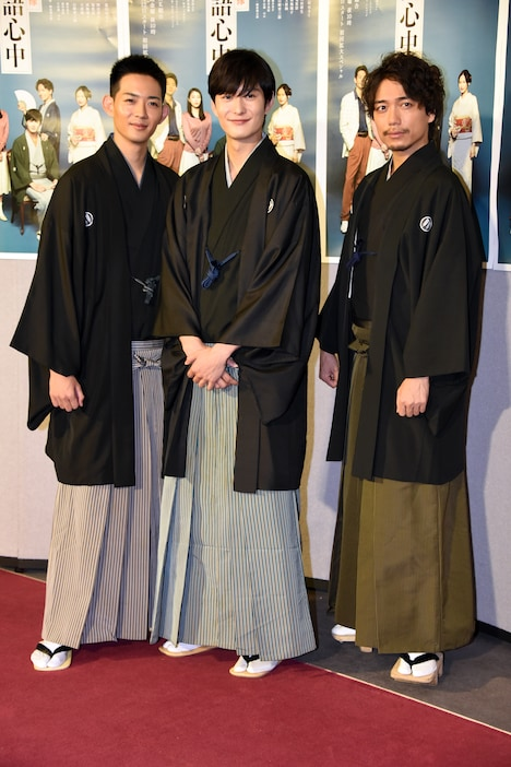 ドラマ「昭和元禄落語心中」試写会の様子。左から竜星涼、岡田将生、山崎育三郎。
