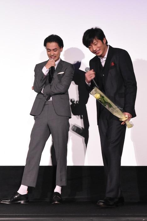 千葉雄大の決めゼリフに苦笑する田中圭(右)と成田凌(左)。