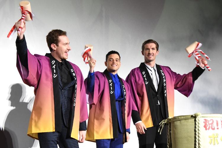 「ボヘミアン・ラプソディ」ジャパンプレミアの様子。左からジョゼフ・マッゼロ、ラミ・マレック、グウィリム・リー。