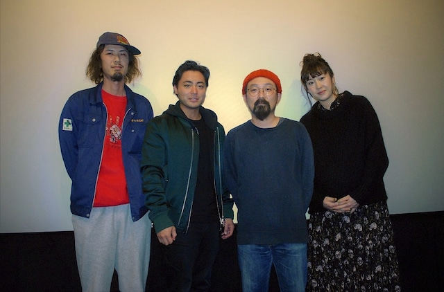 「ハード・コア」メイキング上映イベントの様子。左から宮本杜朗、山田孝之、山下敦弘、石橋けい。