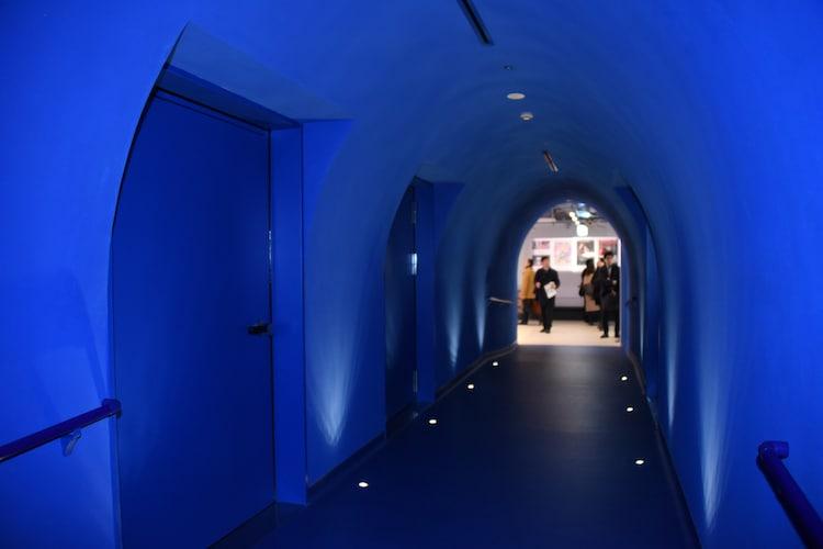 スタッフの間では「青の洞窟」と呼ばれている通路。