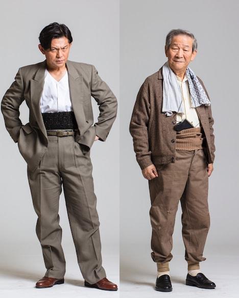 「麻雀放浪記2020」にてドサ健役を務める的場浩司(左)、出目徳役を務める小松政夫(右)。