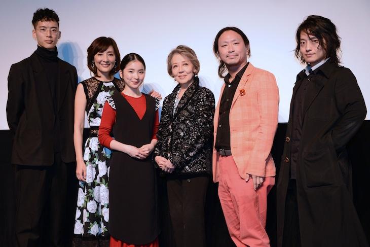 「あまのがわ」完成披露試写会にて、左から柳喬之、生田智子、福地桃子、水野久美、古新舜、吉藤オリィ。