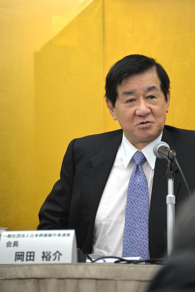 日本映画製作者連盟の会長・岡田裕介。