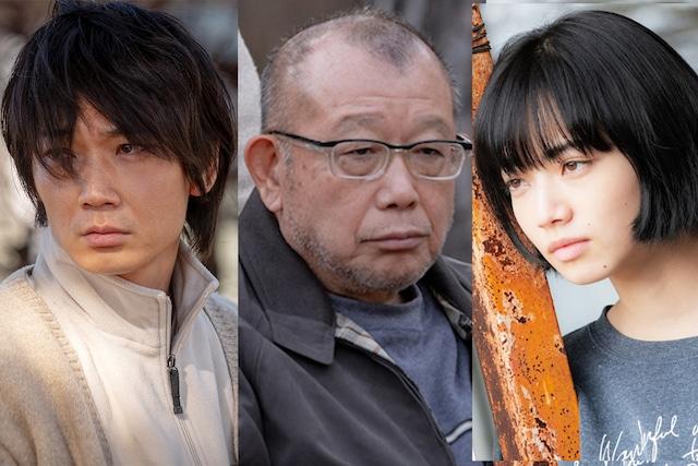 「閉鎖病棟(仮題)」キャスト。左から綾野剛、笑福亭鶴瓶、小松菜奈。