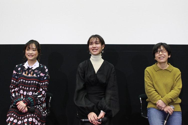左から大原櫻子、戸田恵梨香、平松恵美子。