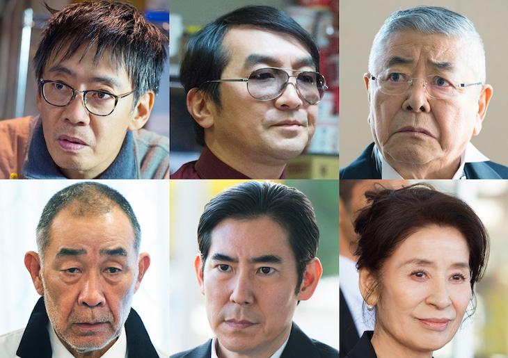 「名探偵・明智小五郎」キャスト。上段左から生瀬勝久、池田鉄洋、中尾彬。下段左からでんでん、高嶋政伸、倍賞美津子。