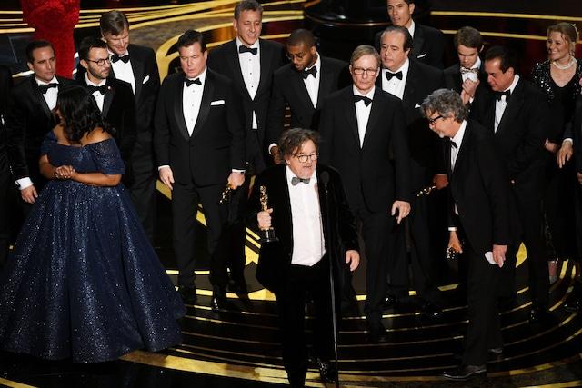 「グリーンブック」作品賞スピーチの様子。(Getty Images)
