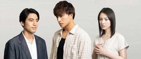 「小説王」キャスト。左から小柳友、白濱亜嵐、桜庭ななみ。