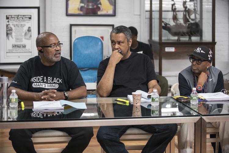 左から原作者のロン・ストールワース、脚本家のケビン・ウィルモット、監督のスパイク・リー。
