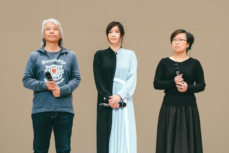 「今日も嫌がらせ弁当」八丈島特別試写会にて、左から塚本連平、篠原涼子、Kaori(ttkk)。