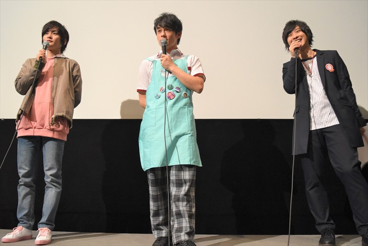 「KING OF PRISM -Shiny Seven Stars- II カケル×ジョージ×ミナト」初日舞台挨拶にて、左から永塚拓馬、五十嵐雅、寺島惇太。