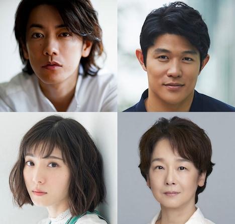「ひとよ」キャスト。上段左から佐藤健、鈴木亮平。下段左から松岡茉優、田中裕子。