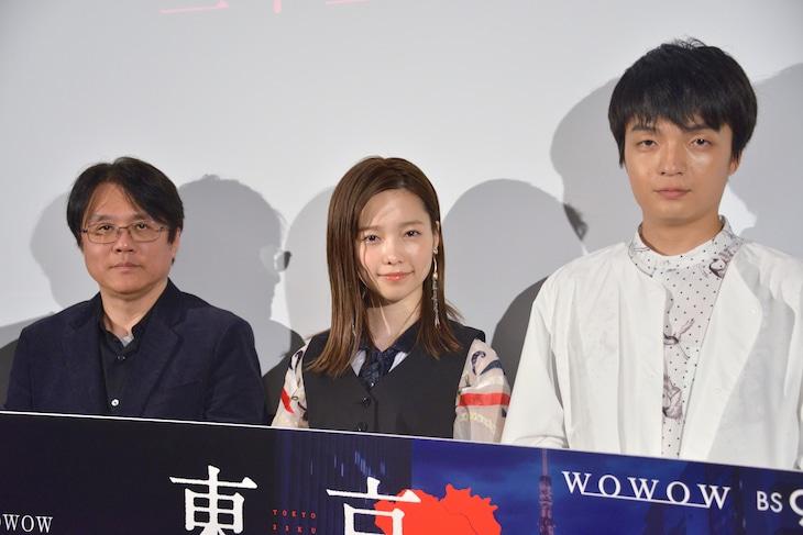 「東京二十三区女」トークイベント付き特別試写会の様子。左から長江俊和、島崎遥香、岡山天音。