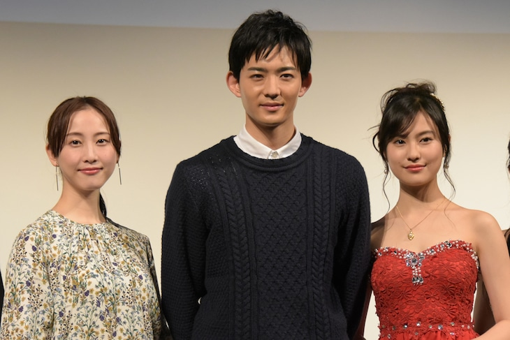 「都立水商!~令和~」製作発表会の様子。左から松井玲奈、竜星涼、恒松祐里。