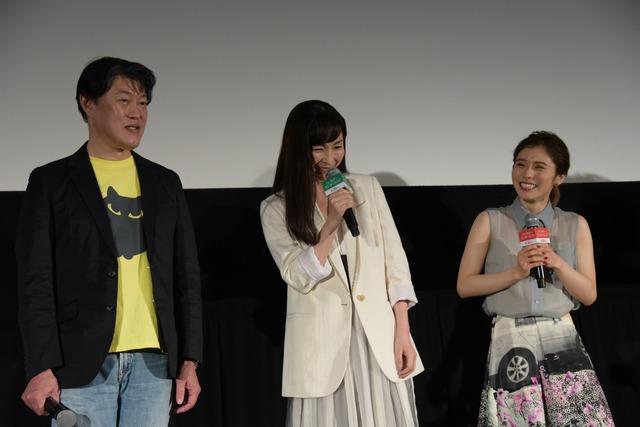 左から原恵一、麻生久美子、松岡茉優。