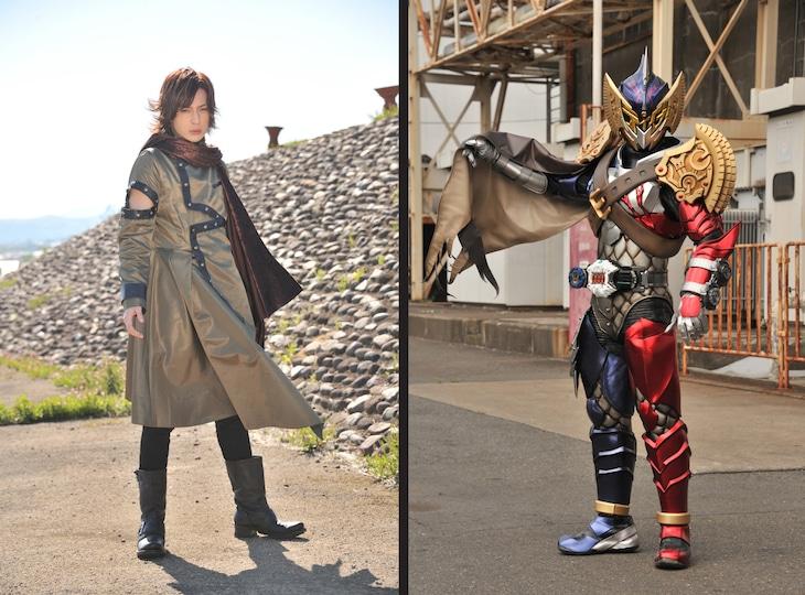斉藤秀翼演じるジョウゲン(左)と仮面ライダーザモナス(右)。