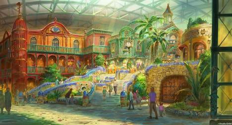 ジブリの大倉庫エリアのデザイン画。