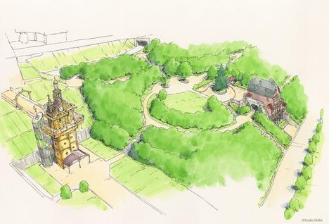 青春の丘エリアのデザイン画(鳥瞰図)。