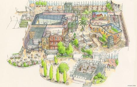 ジブリの大倉庫エリアのデザイン画(鳥瞰図)。