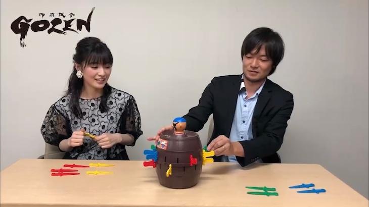 「『GOZEN』真剣勝負」スペシャルムービー第4試合より、優希美青(左)と望月卓(右)。