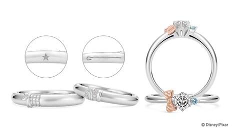 左からLovely Knot 結婚指輪(ウッディモチーフのリング / 税込11万円)、Lovely Knot 結婚指輪(ボー・ピープモチーフのリング / 税込11万円)、Lovely Knot 婚約指輪(リング / 税込12万3200円 ※中石代別途)。