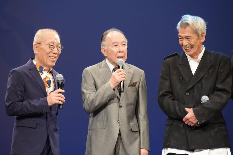 左から小林克也、橋爪功、田中泯。