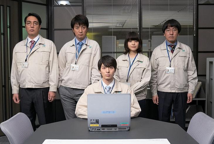 「前田建設ファンタジー営業部」キャスト。左から小木博明、上地雄輔、高杉真宙、岸井ゆきの、本多力。