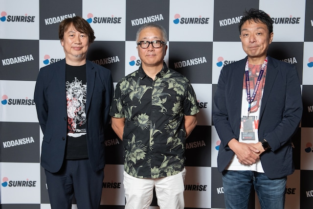 左からサンライズ代表取締役社長の浅沼誠、大友克洋、サンライズのプロデューサー・土屋康昌。