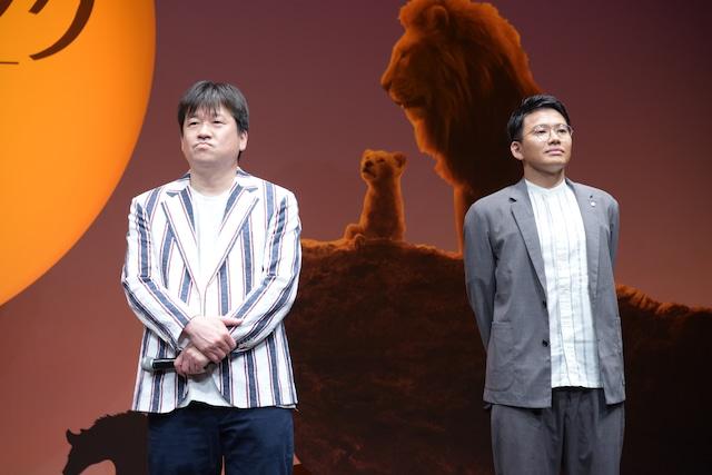 「ライオン・キング」プレミアム吹替版声優発表イベントの様子。左からプンバァ役の佐藤二朗、ティモン役の亜生(ミキ)。