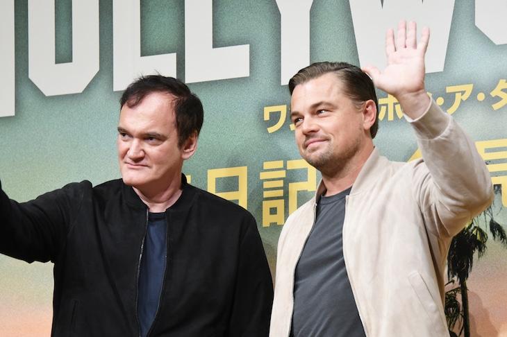 「ワンス・アポン・ア・タイム・イン・ハリウッド」来日記者会見の様子。左からクエンティン・タランティーノ、レオナルド・ディカプリオ。