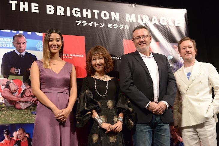 「ブライトン ミラクル」試写会にて、左からすみれ、工藤夕貴、マックス・マニックス、プロデューサーのニック・ウッド。