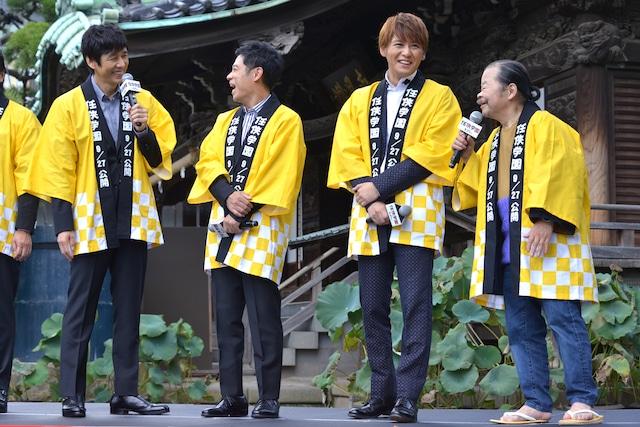 左から西島秀俊、伊藤淳史、佐野和真、佐藤蛾次郎。