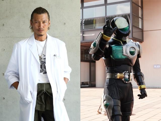 左から岩永洋昭演じる伊達明、仮面ライダーバース。