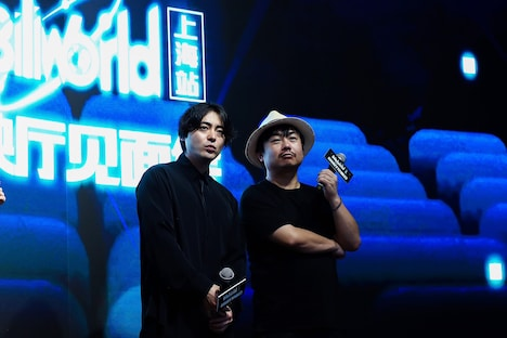 「No Pain,No Gain 完全版」上映後に登壇した山田孝之(左)と、監督の牧有太(右)。