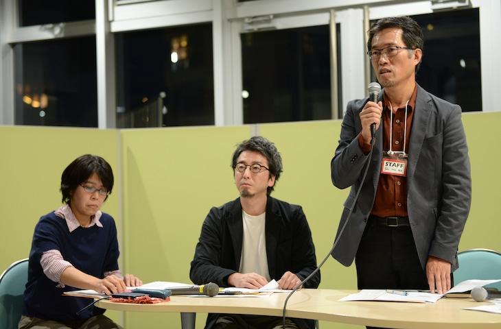 オープンマイクイベント「しんゆり映画祭で表現の自由を問う」にて、左から纐纈あや、大澤一生、中山周治。