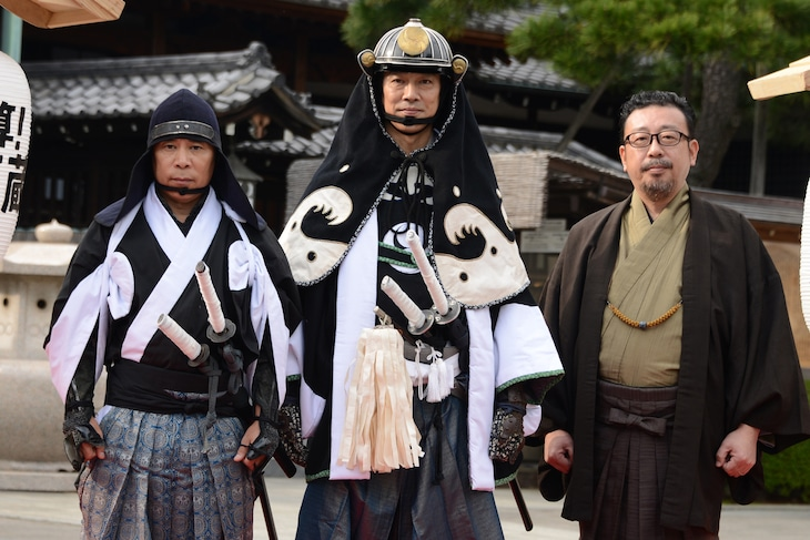 「決算!忠臣蔵」公開直前イベントの様子。左から岡村隆史、堤真一、中村義洋。