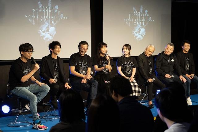 左から小島秀夫、津田健次郎、大塚明夫、井上喜久子、水樹奈々、山路和弘、石住昭彦、三上哲。