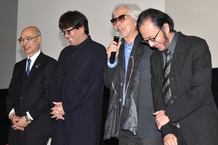 左から青木克徳、高橋陽一、山田洋次、秋本治。