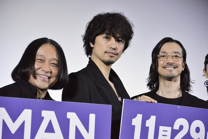 「MANRIKI」初日舞台挨拶の様子。左から永野、斎藤工、金子ノブアキ。