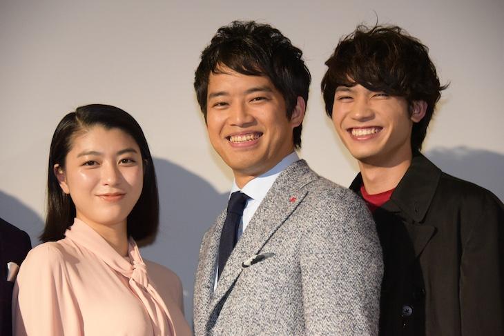 「ゴーストマスター」公開記念舞台挨拶の様子。左から成海璃子、三浦貴大、板垣瑞生。