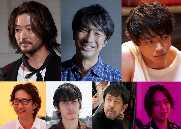左上から時計回りに浅野忠信、眞島秀和、笠松将、佐藤流司、濱津隆之、柳俊太郎、波岡一喜。